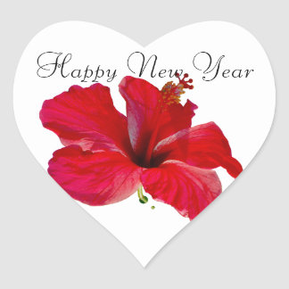 Happy New Year Red Hibiscus Heart Sticker