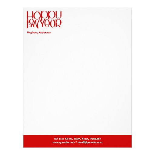 Happy New Year red Letterhead