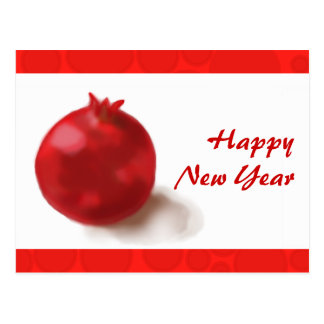 Happy New Year - red pomegranate fun Card Post Cards