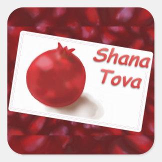 Happy New Year - red pomegranate fun Card Square Sticker