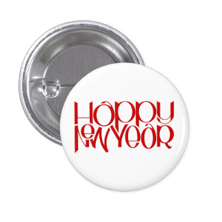 Happy New Year red Round Button
