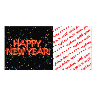 Happy New Year Red Text w/Confetti Card