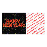 Happy New Year Red Text w/Confetti Personalized Photo Card