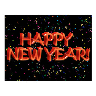 Happy New Year Red Text w Confetti Post Card