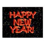 Happy New Year Red Text w/Confetti Postcard
