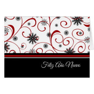 Happy New Year Red White Black Snowflakes Spanish Card
