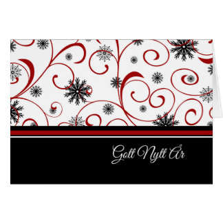 Happy New Year Red White Black Snowflakes Swedish Card