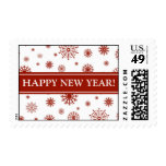 Happy New Year Red White Snow Postage Stamp