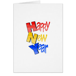 Happy New Year Red Yellow Blue Greeting Card