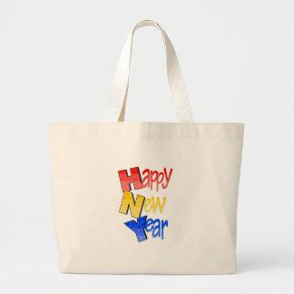 Happy New Year Red Yellow Blue Jumbo Tote Bag