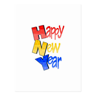 Happy New Year Red Yellow Blue Postcard