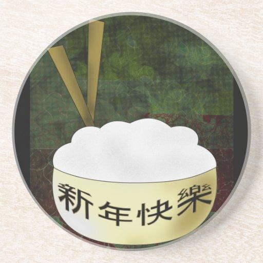 Happy New Year Rice Bowl Beverage Coaster