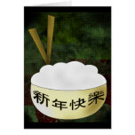 Happy New Year Rice Bowl Greeting Cards