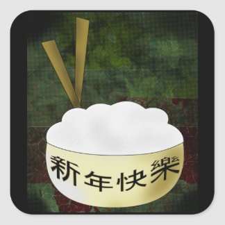 Happy New Year Rice Bowl Square Sticker