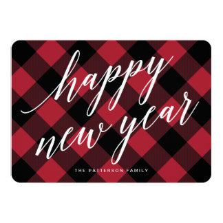 Happy New Year Rustic Buffalo Plaid Greeting Card