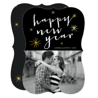 Happy New Year Script Gold Starburst Photo Card