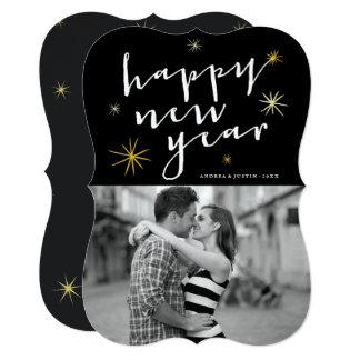 Happy New Year Script Gold Starburst Photo Card