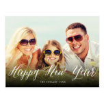 Happy New Year Script Holiday Photo Postcard