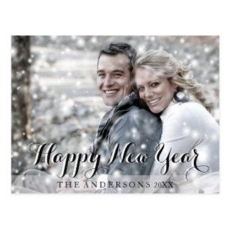 HAPPY NEW YEAR Script Modern Custom Photo Postcard