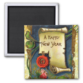 Happy New Year Scroll 2 Inch Square Magnet