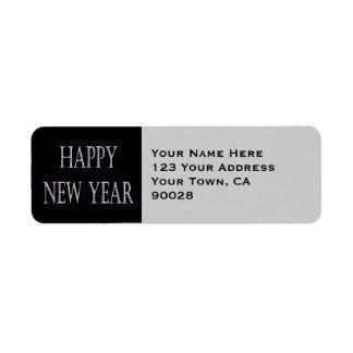 happy new year silver holiday custom return address label