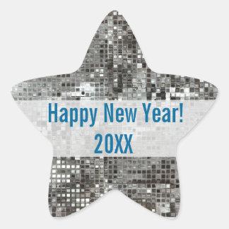 Happy New Year Silver Sequins Star Sticker