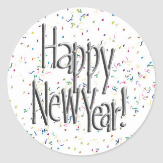 Happy New Year Silver Text Classic Round Sticker