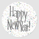 Happy New Year Silver Text Stickers