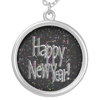 Happy New Year - Silver Text w/Black Confetti Round Pendant Necklace