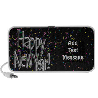 Happy New Year - Silver Text w/Black Confetti Mp3 Speakers