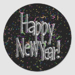 Happy New Year - Silver Text w/Black Confetti Round Sticker