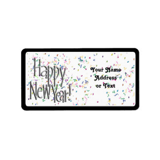 Happy New Year - Silver Text With Confetti Address Label