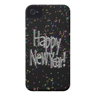 Happy New Year - Silver Text With Confetti iPhone 4 Cases