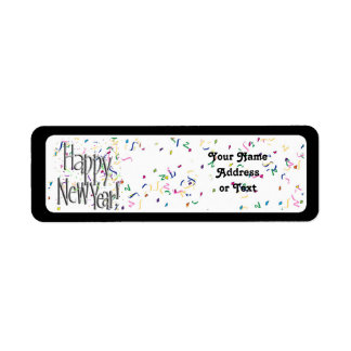 Happy New Year - Silver Text With Confetti Return Address Label