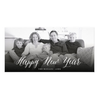 Happy New Year Simple Script Holiday Photo Card
