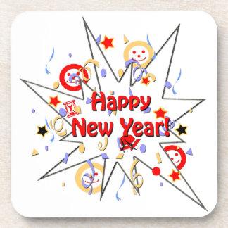 Happy New Year Smiley Splash Beverage Coaster