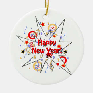 Happy New Year Smiley Splash Ceramic Ornament