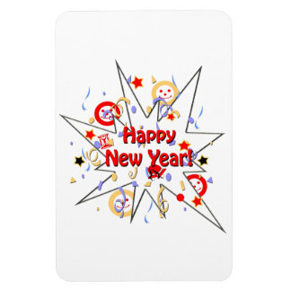 Happy New Year Smiley Splash Rectangular Photo Magnet