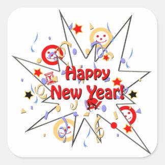 Happy New Year Smiley Splash Square Sticker