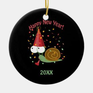 Happy new Year Snail Ceramic Ornament
