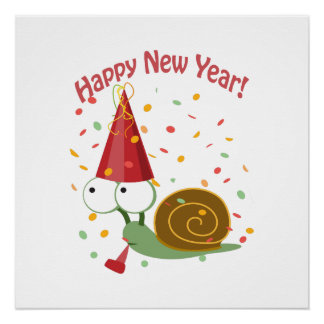 Happy new Year Snail Perfect Poster