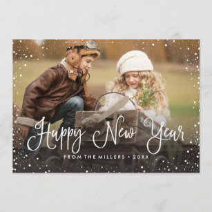 happy new year snow photo holiday card