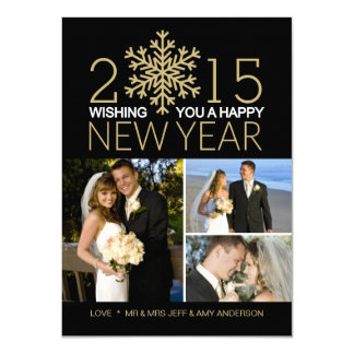 Happy New Year Snowflake Holiday Tri-Photo Card Announcement