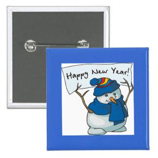 Happy New Year Snowman Button