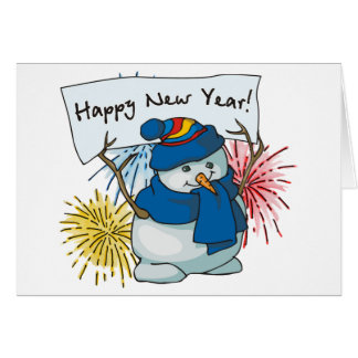 happy new year snowman card