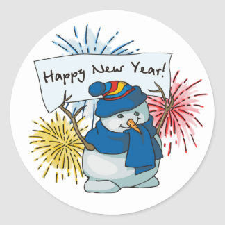 happy new year snowman classic round sticker