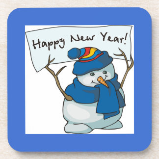 Happy New Year Snowman Coaster