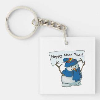Happy New Year Snowman Keychain