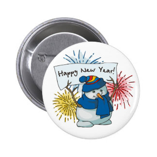 happy new year snowman pinback button