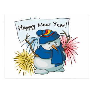 happy new year snowman postcard